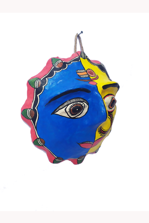 Hand-Painted and Hand-Crafted Papier Mache Ardhnareshwar Mask