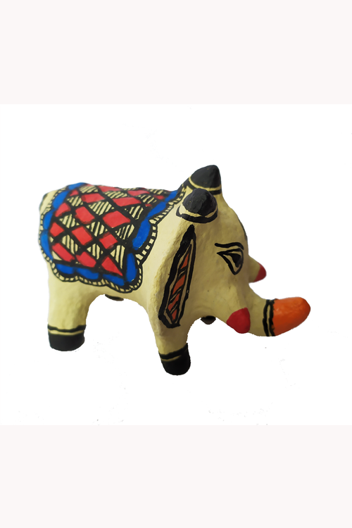 Hand-Painted and Hand-Crafted Papier Mache Off-White Hathi Toy