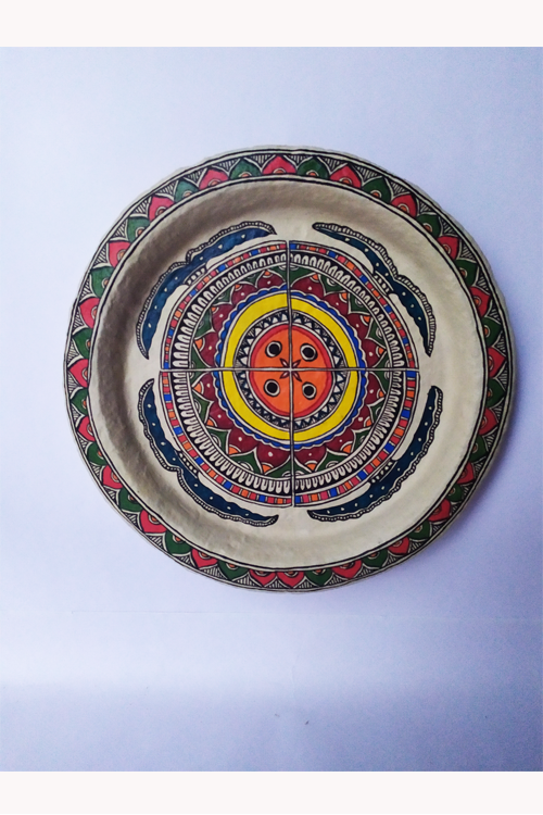 Hand-Painted and Hand-Crafted Papier Mache Plate-3