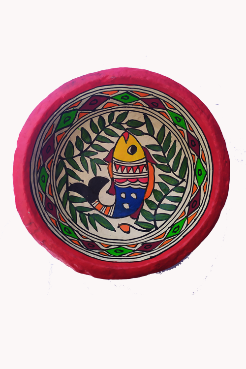 Hand-Painted and Hand-Crafted Papier Mache Round Bowl-1