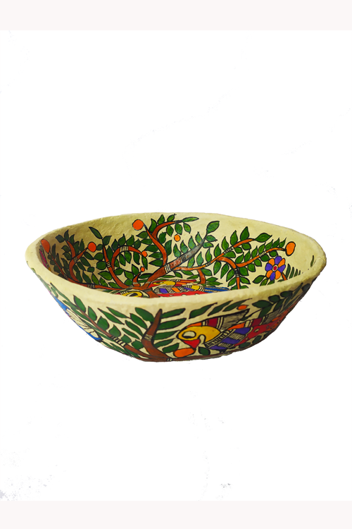 Hand-Painted and Hand-Crafted Papier Mache Bowl with Lid-6