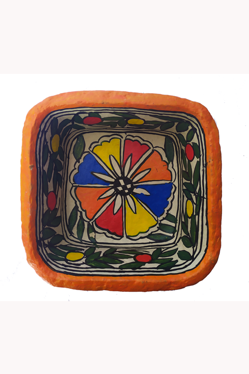 Hand-Painted and Hand-Crafted Papier Mache Square Bowl-2