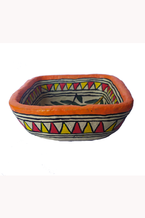 Hand-Painted and Hand-Crafted Papier Mache Square Bowl-3