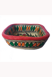Hand-Painted and Hand-Crafted Papier Mache Square Bowl-5
