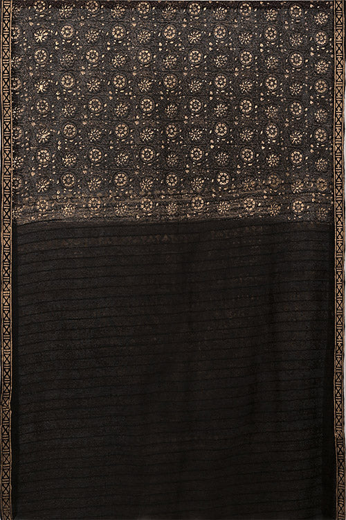 Natural Dye Block Print Silk Sari-2