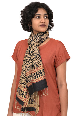 Creative Bee 'JALEBI' Natural Dye Block Print Silk Stole