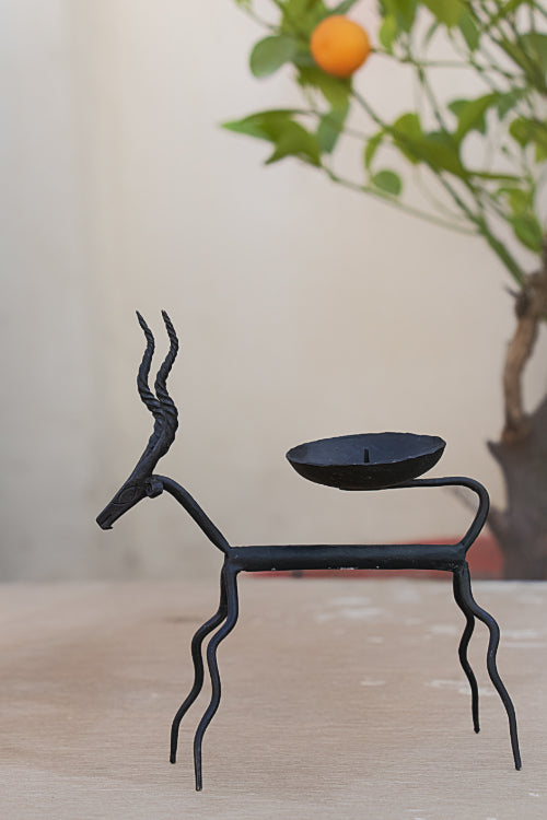 Bastar Tribal Art - Candle Holder - Deer - The India Craft House