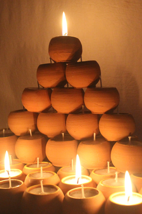 Craftlipi Terracotta Ball Candle Holder Set of 50 Online