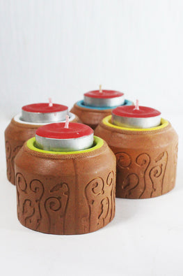 Craftlipi BLISS CYLINDER Handcrafted Terracotta Tea Light Holder Online
