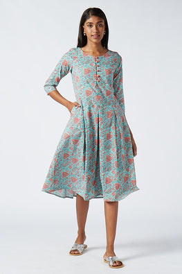 Okhai 'Blossom' Cotton Hand Block Print Dress