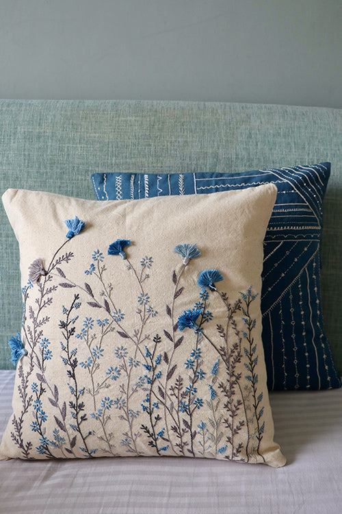 Okhai 'Blue Poppy' Hand Embroidery Cushion Cover