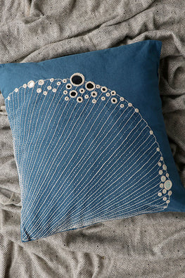 Okhai 'Clamshell' Hand Embroidered Cushion Cover