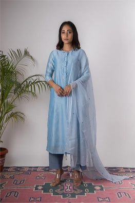 Urmul 'Bluebell'Hand Embroidered Steel blue chanderi kurta . 2pc set (kurta and dupatta)