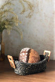 Handmade Sabai Grass Bread Basket - Large (Black)