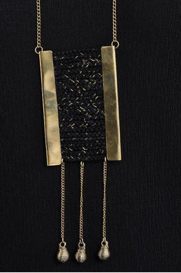 Miharu Black Gold Tone Necklace