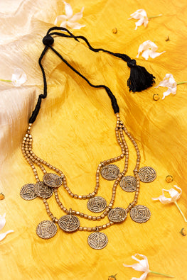 Gold Tone Beaded Dokra Necklace