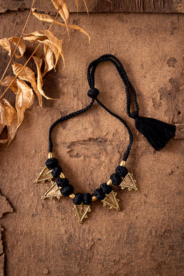 Miharu Black Gold Tone Choker Necklace CD1928f