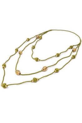 Long Layered Necklace of Thread and Brass