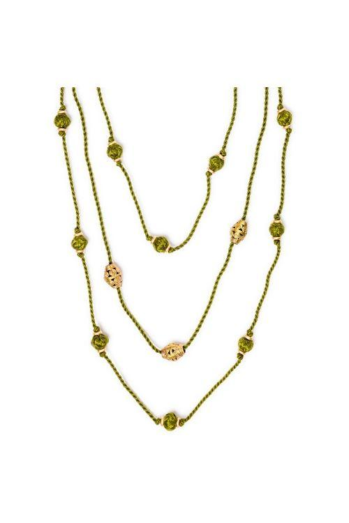 Miharu Long Layered Necklace of Thread and Brass