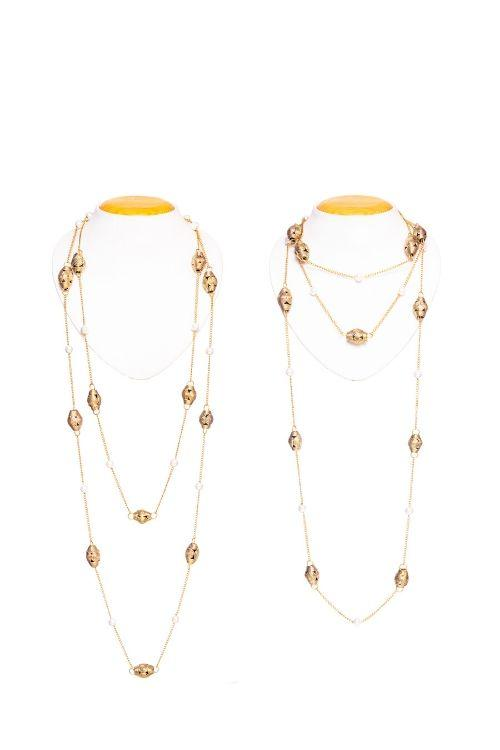 Miharu Long Layered Brass Necklace