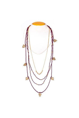 Miharu Mulltilayered Thread and brass Necklace