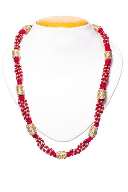 Miharu Red Gold Tone Drum Necklace