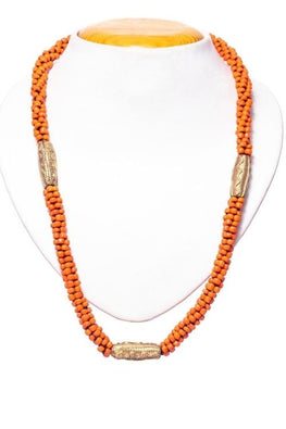 Miharu Orange Gold Tone Drum Necklace