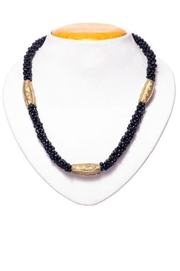 Miharu Black Gold Tone Drum Necklace