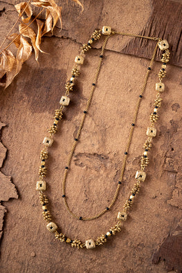 Miharu Dokra Golden Brass Bead Layer Necklace CD1950b
