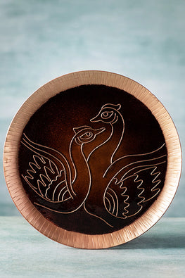COPPER ENAMEL BROWN ANIMAL SERIES-SWAN