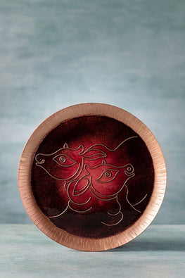 COPPER ENAMEL RED ANIMAL SERIES COW