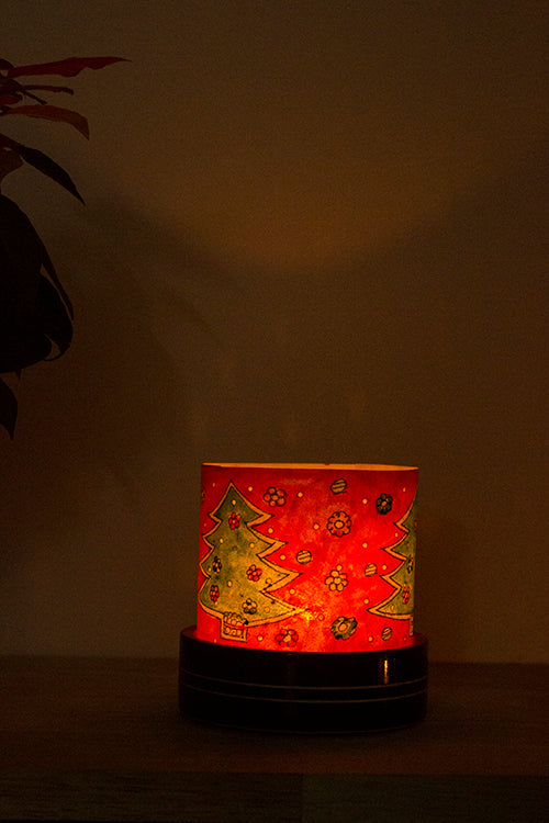 Tree And Snowflakes' Set of 2 Channapatna Hand-Painted Leather Votive Set