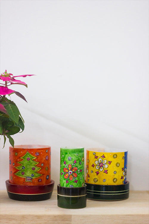 Christmas Story' Set of 3 Channapatna Hand-Painted Leather Votive Set