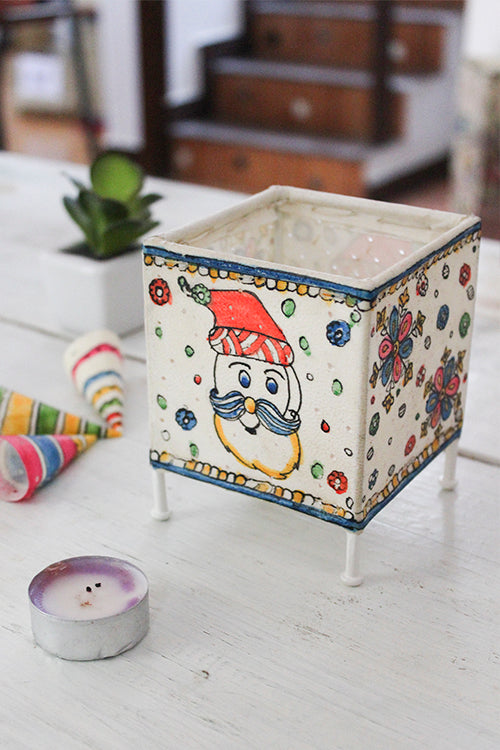 Studio Moya 'Santa Doodle' Hand-painted On Leather Square T-Light