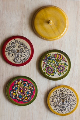 StudioMoya 'Ethnic Motifs' Channapatna Hand-painted Coasters