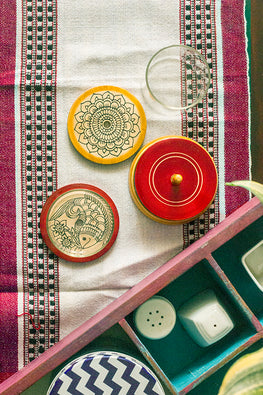 StudioMoya 'Ethnic Motifs' Single Color Channapatna Hand-painted Coasters