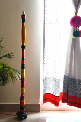 StudioMoya 'Tall Khambha' in Channapatna Wood Craft Floor Lamp
