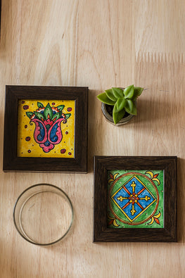 StudioMoya 'Lotus & Diamond' Hand-painted On Leather Framed Coasters