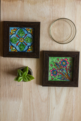 StudioMoya 'Floral & Tiles' Hand-painted On Leather Framed Coasters