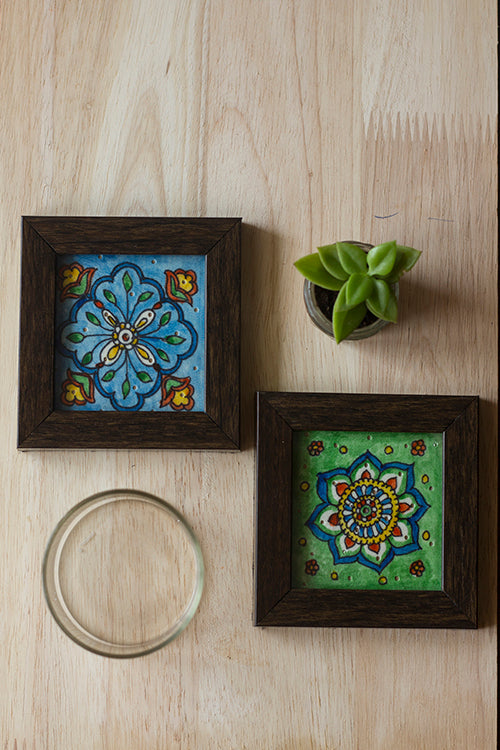 StudioMoya 'Diamond & Mandala' Hand-painted On Leather Framed Coasters