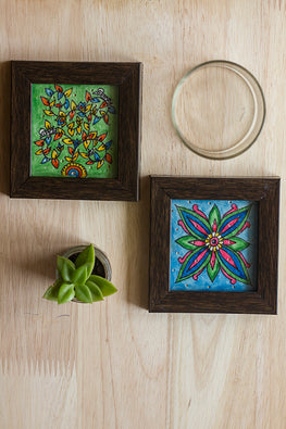 StudioMoya 'Tree & Tile' Hand-painted On Leather Framed Coasters