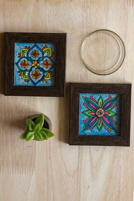StudioMoya 'Pottery Tiles' Hand-painted On Leather Framed Coasters