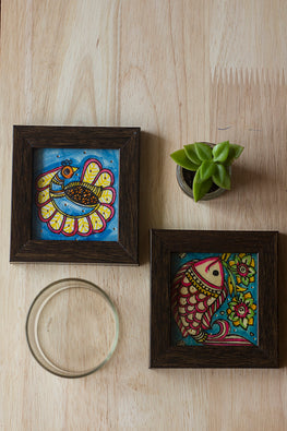 StudioMoya 'Peacocks & Fishes' Hand-painted On Leather Framed Coasters