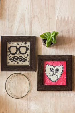 StudioMoya 'Tholu Quirky Motifs' Hand-painted On Leather Framed Coasters