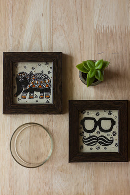 StudioMoya 'Tholu Quirky Motifs' Black and White Hand-painted On Leather Framed Coasters