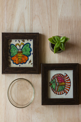 StudioMoya 'Butterfly & Fish' Black and White Hand-painted On Leather Framed Coasters