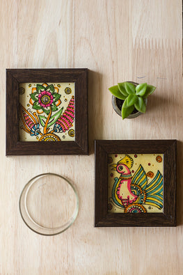 StudioMoya 'Floral & Peacock' Hand-painted On Leather Framed Coasters