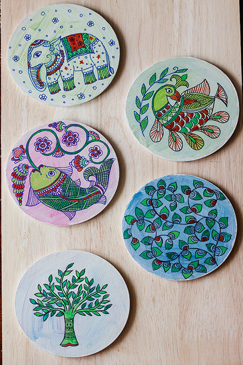 StudioMoya 'Madhubani Motifs' Hand-painted On Wood Round Coasters
