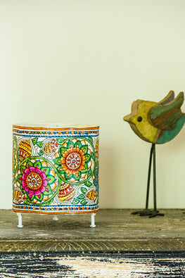 StudioMoya 'Marigold' Hand-painted On Leather Cylinder Tea Light Lamp