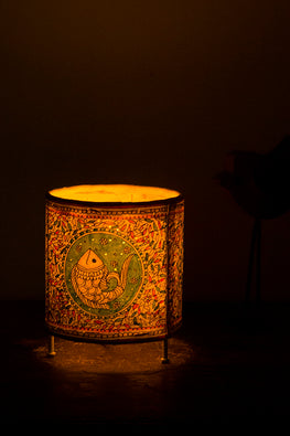StudioMoya 'Wanderlust-Peacock' Hand-painted On Leather Cylinder Tea Light Lamp